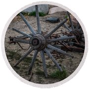 Antique Wagon Wheel Round Beach Towel