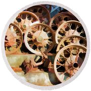 Antique Wagon Wheels And Baskets Round Beach Towel