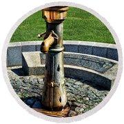 Antique Water Fountain Round Beach Towel