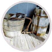 Antique Wooden Buckets Round Beach Towel