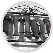Antiques Store Sign Round Beach Towel