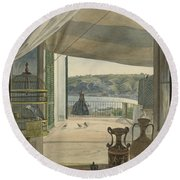 Antiquities By A Balcony Overlooking The Gulf Of Naples Round Beach Towel