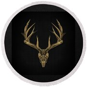 Antlered Skulls - Gold Deer Skull X-ray Over Black Canvas No.1 Round Beach Towel