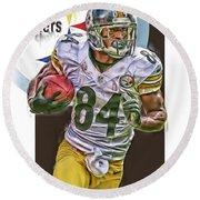 Antonio Brown Pittsburgh Steelers Oil Art 4  Round Beach Towel