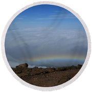 Anuenue - Rainbow At The Ahinahina Ahu Haleakala Sunrise Maui Hawaii Round Beach Towel
