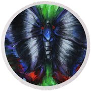 Anxious Butterfly Round Beach Towel