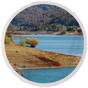 Aoos Lake Shore In Epirus, Greece Round Beach Towel