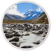 Aoraki Mount Cook Hooker Valley Southern Alps Nz Round Beach Towel