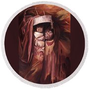 Apache Girl And Papoose Round Beach Towel