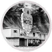 Apache Motel Tucumcari Round Beach Towel