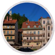 Apartments By The Ljubljanica River In Ljubljana Round Beach Towel