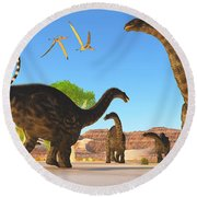 Apatosaurus Forest Round Beach Towel