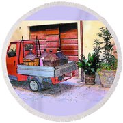 Ape Truck In Tuscany Round Beach Towel