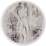 Aphrodite Round Beach Towel
