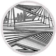 Apocalyptic Ringside View Round Beach Towel