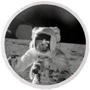 Apollo 12 Moonwalk Round Beach Towel