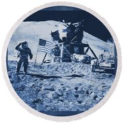 Apollo 15 Mission To The Moon - Nasa Round Beach Towel