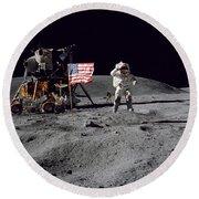 Apollo 16 Astronaut Leaps Round Beach Towel