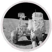 Apollo 16 Astronaut Reaches For Tools Round Beach Towel