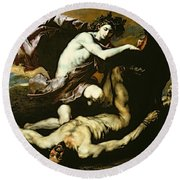 Apollo And Marsyas Round Beach Towel