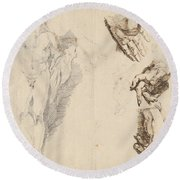 Apollo And Studies Of The Artist's Own Hand [recto] Round Beach Towel