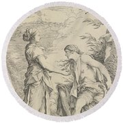 Apollo And The Cumaean Sibyl Round Beach Towel