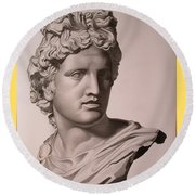 Apollo Bust Drawing Round Beach Towel