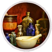 Apothecary - Tools Of The Pharmacist Round Beach Towel