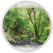 Appalachian Creek Round Beach Towel