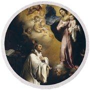 Apparition Of The Virgin To Saint Bernardo  Round Beach Towel