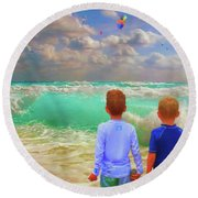 Appealing Destractions Round Beach Towel