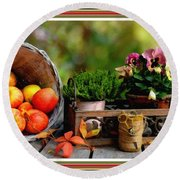 Apple Basket And Other Objects Still Life L B With Alt. Decorative Ornate Printed Frame. Round Beach Towel