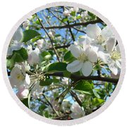 Apple Blossoms Art Prints 60 Spring Apple Tree Blossoms Blue Sky Landscape Round Beach Towel