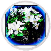 Apple Blossoms In Blue White Mist Round Beach Towel