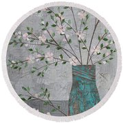 Apple Blossoms In Turquoise Vase Round Beach Towel