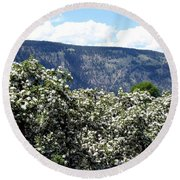 Apple Blossoms Round Beach Towel by Will Borden