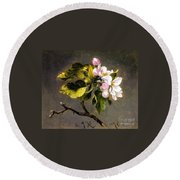 Apple Blossomss Round Beach Towel