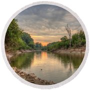 Apple Creek At Dusk Round Beach Towel