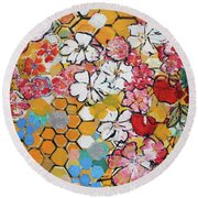 Apple Honeycomb Blossoms 201760 Round Beach Towel