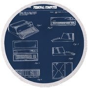 Apple Macintosh Patent 1983 Blue Round Beach Towel