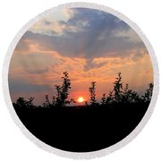Apple Orchard Silhouette Round Beach Towel