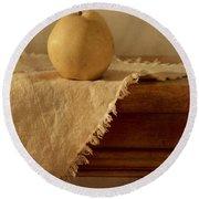 Apple Pear On A Table Round Beach Towel by Priska Wettstein