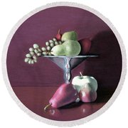 Apple  Pears And Grapes Round Beach Towel