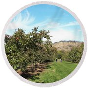 Apple Picking Round Beach Towel