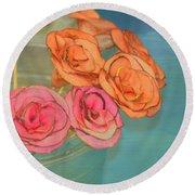 Apple Roses Round Beach Towel