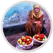 Apple Seller Round Beach Towel