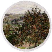 Apple Trees Near Vetheuil Round Beach Towel by Claude Monet