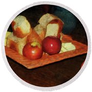 Apples And Bread Round Beach Towel by Susan Savad
