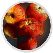 Apples And Mirrors Round Beach Towel by Paul Wear