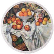 Apples And Oranges Round Beach Towel by Paul Cezanne